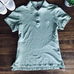 The North Face Pea Green Polo Shirt Sz L Cotton